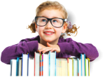 Little girl leaning on books