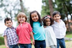 pre-school children smiling